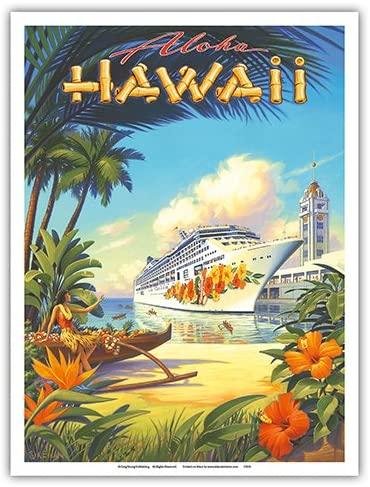 Pride of Hawaii Cruise Ship - Aloha Towers, Honolulu Harbor - Vintage Hawaiian Travel Poster by Kerne Erickson - Master Art Print 9in x 12in