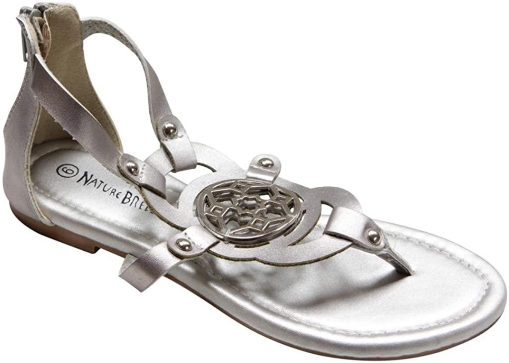 Natural-Breeze Florence-04 Women Zip Closure Floral Metal Decor Stud Thong Sandals