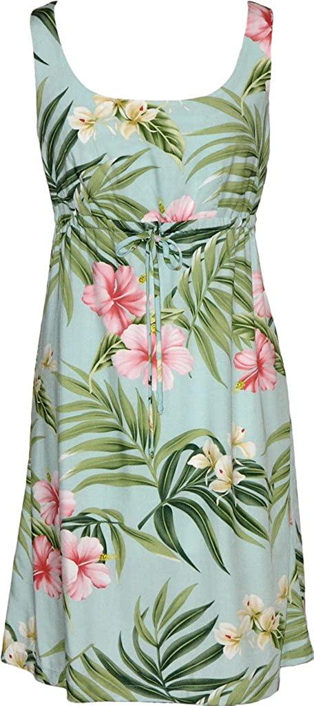 RJC Womens Breathtaking Island Getaway Short Hawaiian Empire Drawstring Tank Dress