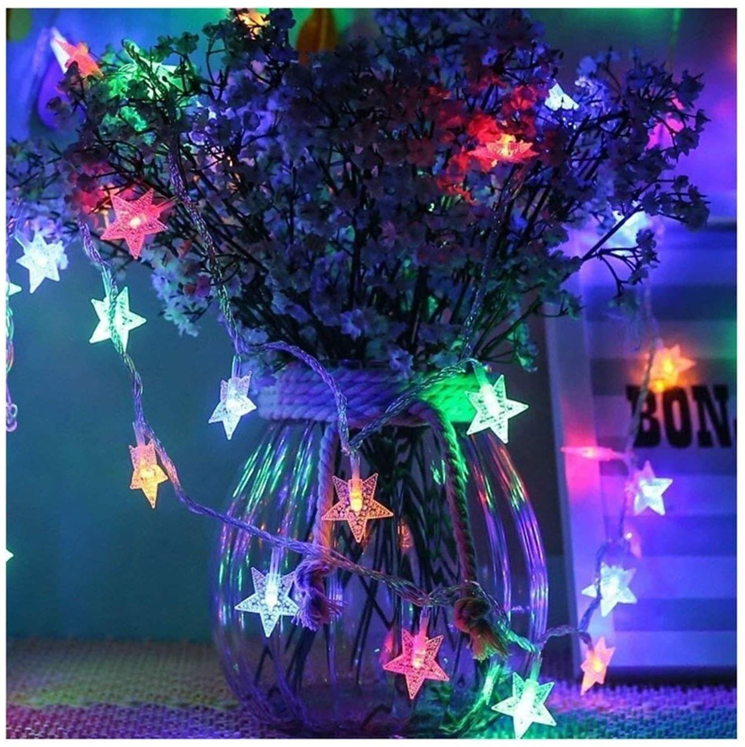 WDWL Fairy Lights, Star String Lights, 6M, 50 Lights Battery-Powered Decorative Lights,Waterproof Outdoor and Indoor LED Fairy Lights for Christmas Holiday Rooms Patio Gazebo and Wedding Decor
