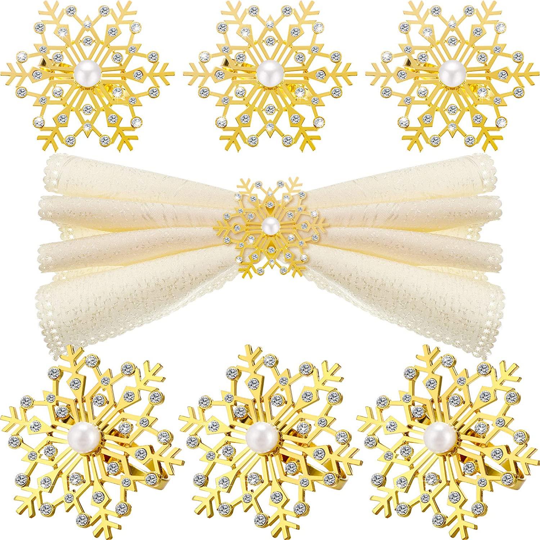 12 Pieces Snowflake Napkin Rings Christmas Napkin Ring Holder Buckle Rhinestone Pearl Napkin Rings Holder Decorative Metal Napkin Ring Alloy Napkin Ring for Christmas Wedding TableDecor (Gold)