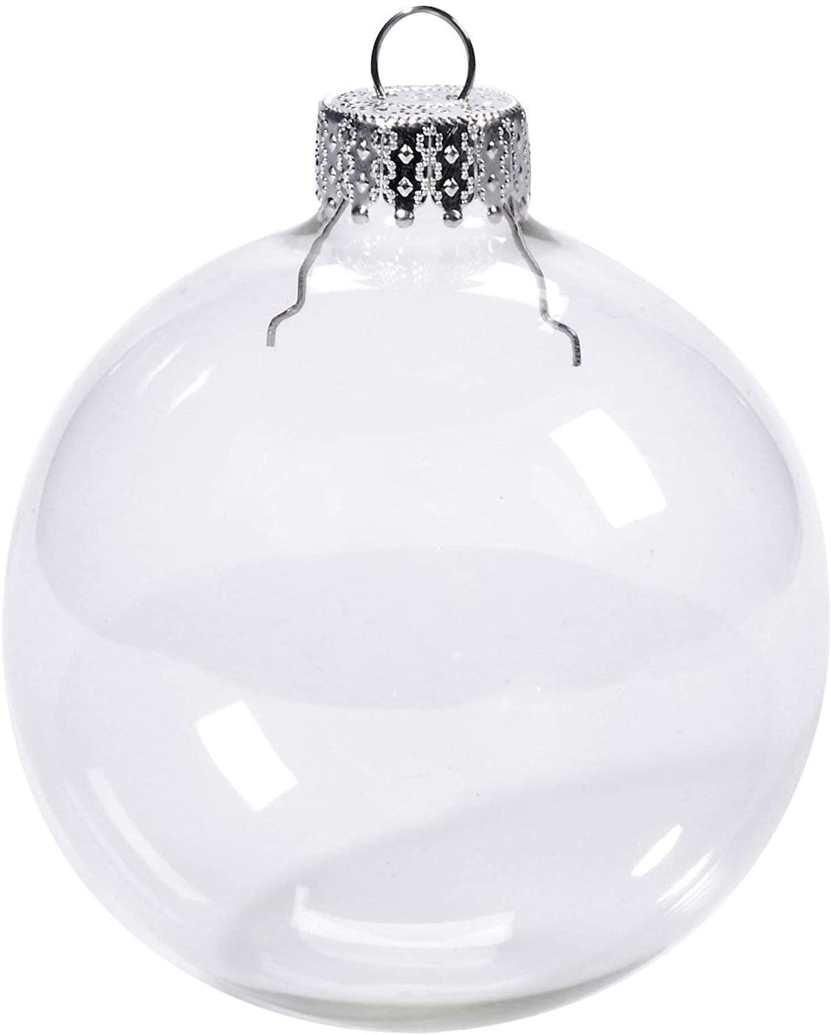 Darice XMAS HEAVY GLASS BALLS 4 PC BOX 80MM, 80 mm (Pack of 4), Clear, 4 Count