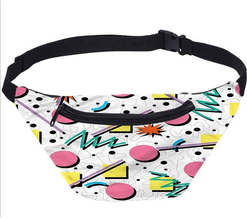 Abstract Travel Fanny Bag,Post Modern Memphis Design Waist Pack for Travel Cashier's Box