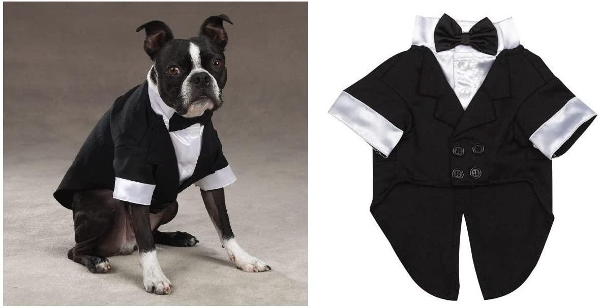Casual Canine Elegant Wedding Groom Dog Tuxedo Dogs Formal Wear for Black Tie Events Weddings(XXSmall Elegant Tuxedo)