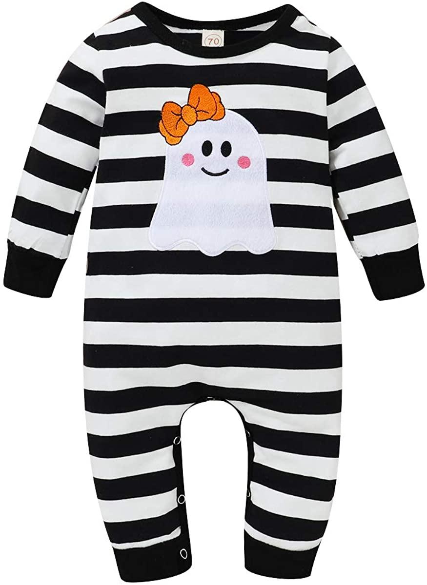 Suissewind Newborn Infant Baby Girls Boys Halloween Outfits Stripe Thanksgiving Romper Bodysuit Jumpsuit Pajamas