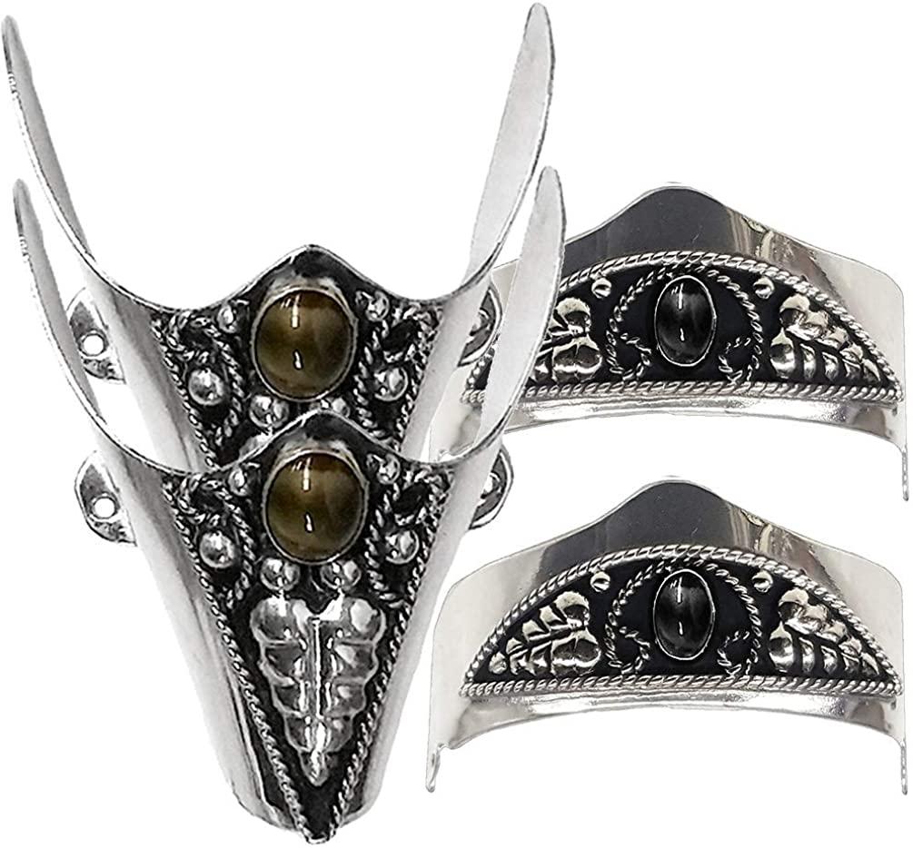 Modestone 4x Metal Boot Caps: 2 x Onyx-like Stone Heel + 2 x