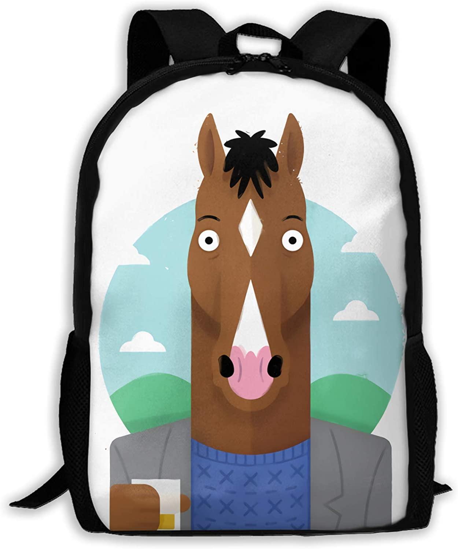 BoJack Horseman High-Capacity Unisex Adult Backpack Bookbag Travel Bag Schoolbags Laptop Bag