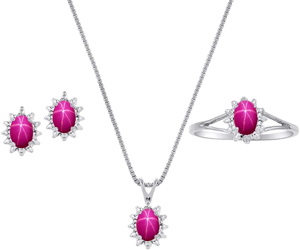 Star Ruby & Diamond Pendant, Earrings & Ring Set in Sterling Silver .925 with Chain and Gift Box