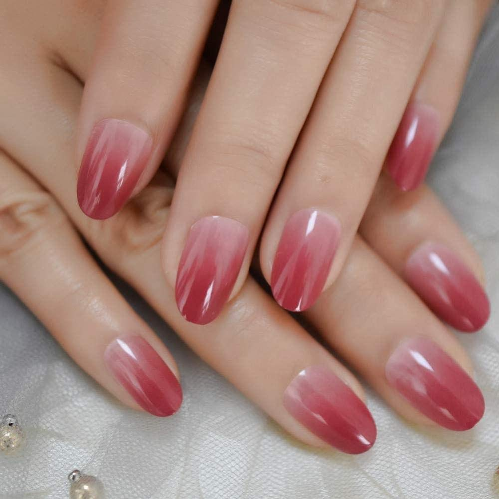 Deep Rose Red Press On Fingernails Mix Glitter Decoration Oval Fake Nails Uv Cover Glossy Nail Art Tips 24-L5136