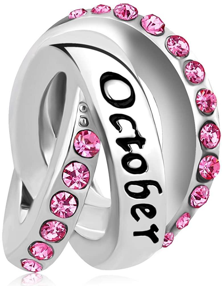 LovelyCharms Simulated Birthstone Charm Birthday Bead for Bracelet