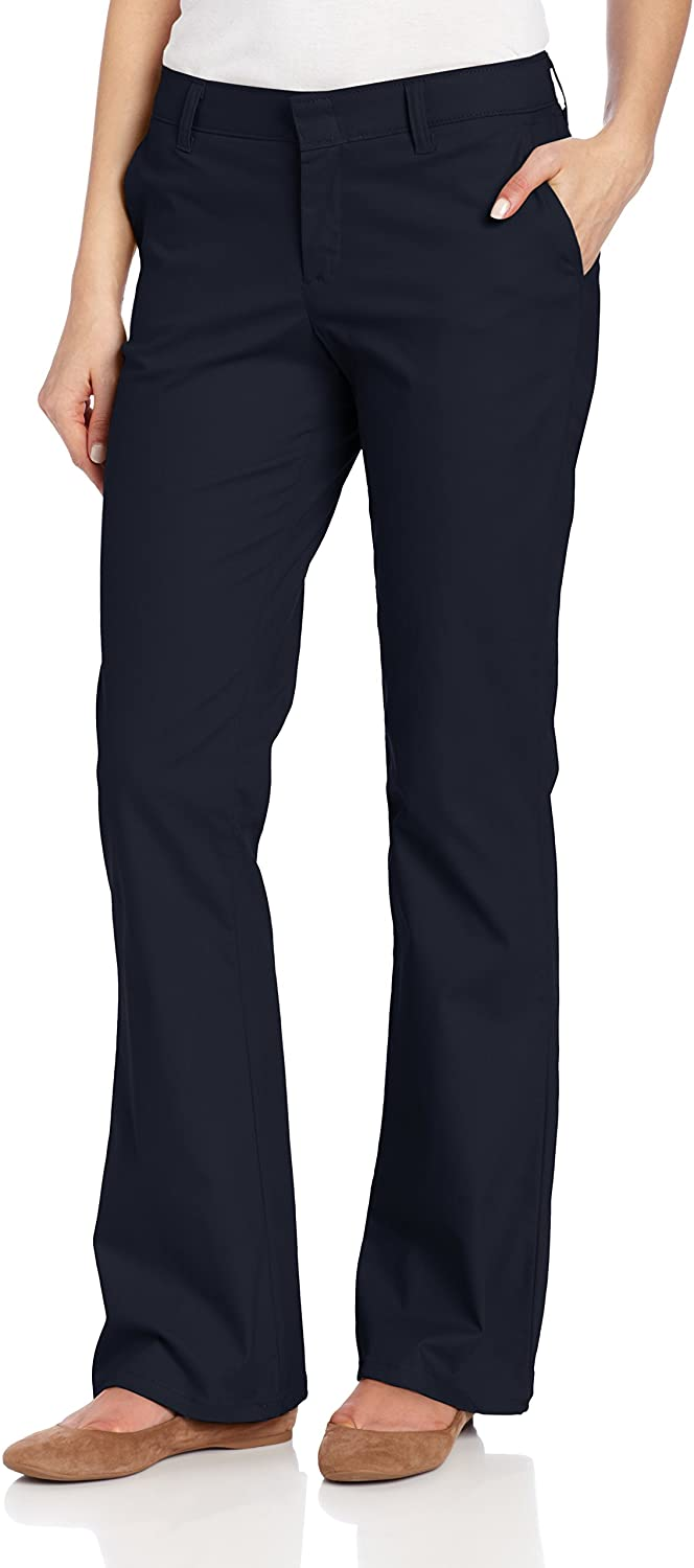 Dickies Women's Flat Front Stretch Twill Pant Slim Fit Bootcut, Dark Navy, 8