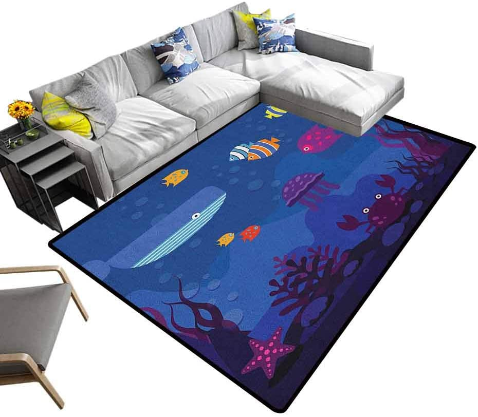 Soft Carpet Cartoon, Kids Carpet Extra Large Underwater World Fish in Aquarium and Whale Crabs Jellyfish Bubbles Coral Hypoallergenic, Washable and Nonslip Blue and Multicolor, 6.5 x 10 Feet
