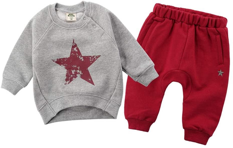 YYQX-4X Baby Clothes Set, Children's Baby Sweater Set Autumn/Winter Men and Women Baby Clothes Sports Set/Warm Warm,4,66cm
