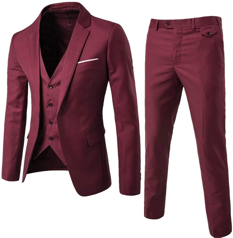 Soluo Men's Shawl Lapel 3-Pieces Suit Slim Fit One Button Dress Suit Blazer Jacket Pants Tux Vest (Red Wine,3X-Large)