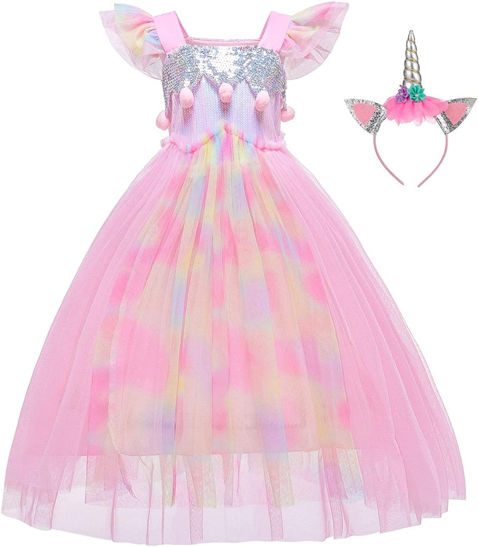 BanKids Unicorn Dress For Girls Unicorn Costume Pageant Princess Party Dress with Unicorn Headband For Girls 2-12 Years