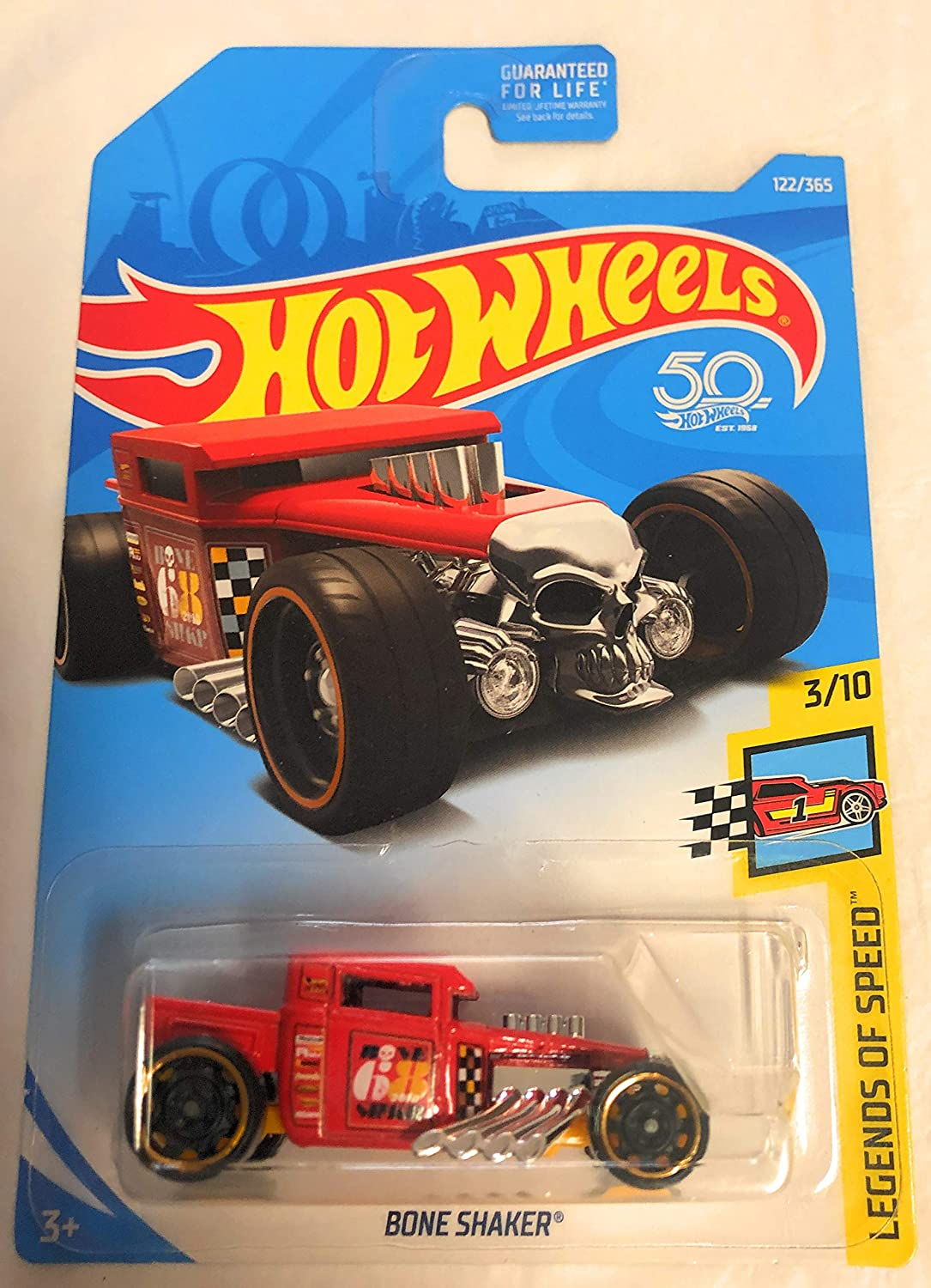 2018 Hot Wheels Bone Shaker Red Anniversary Card 122/365 Legends of Speed 3/10 Die Cast 1:64 Scale Toy Car