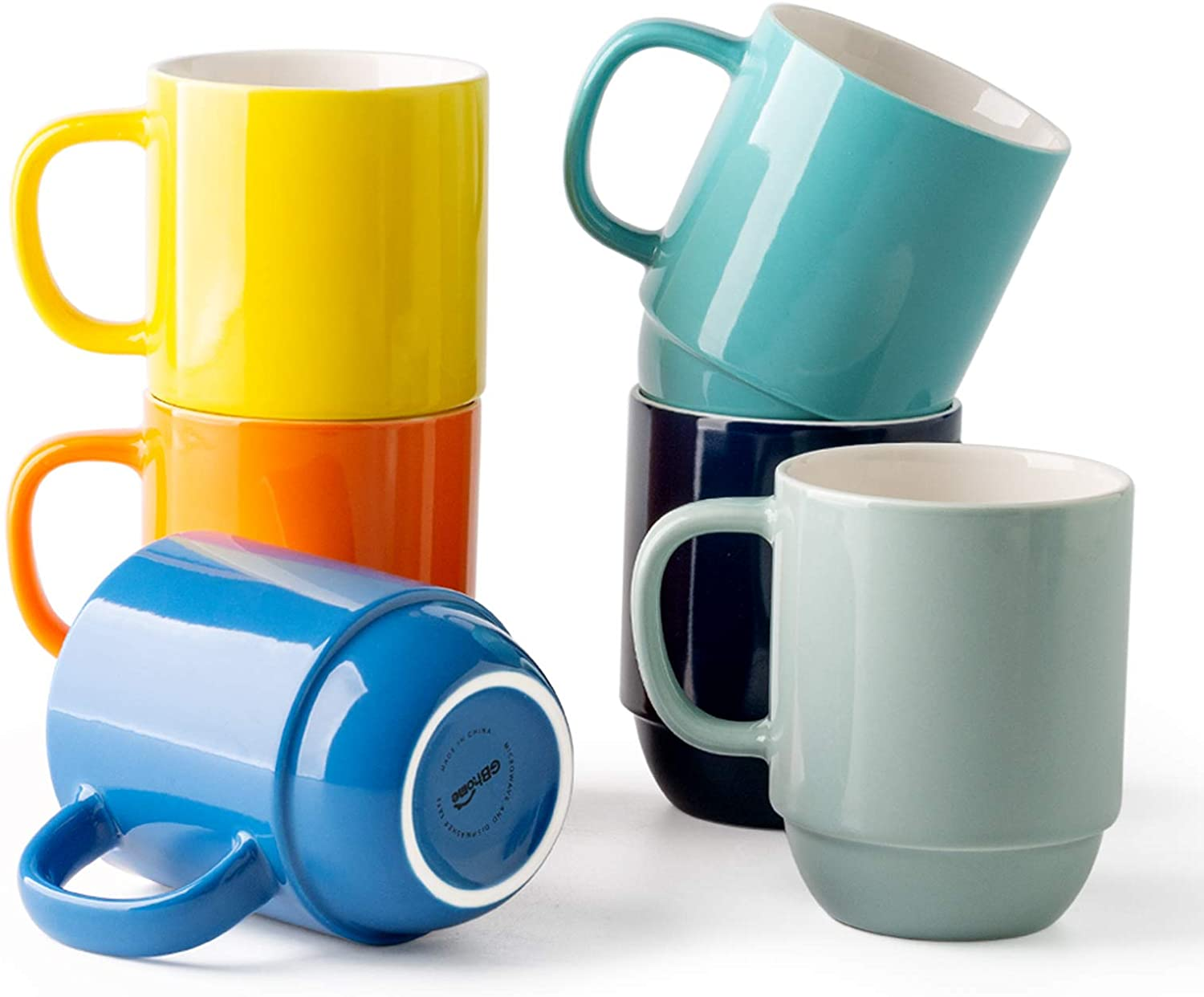 GBHOME Stackable Coffee Mugs Set of 6, 16 OZ Ceramic Coffee Mug Set for Women/Men/Office/Home/Gift, Hot Assorted Colors