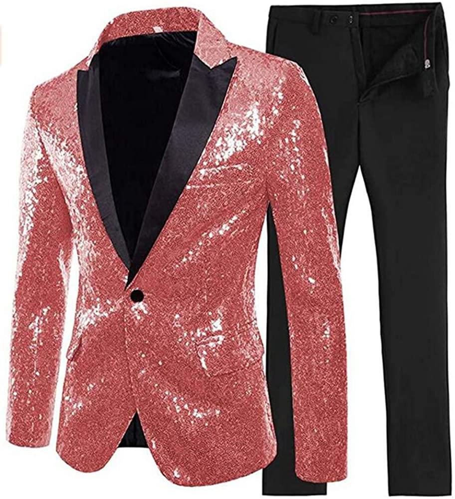 TOPG Mens 2 Pieces Sequins Suit Evening Party Tuxedos Shiny Jacket Pants