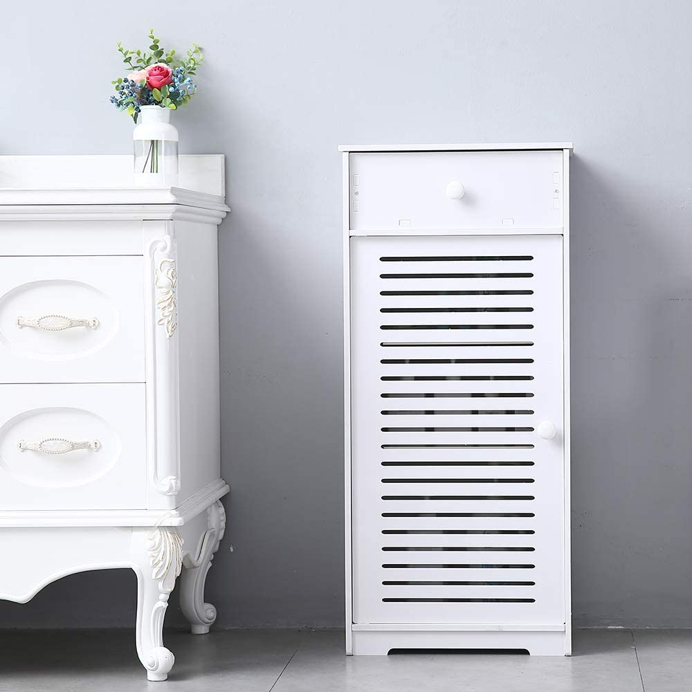 SOFT BALLS Single Door Floor Cabinet - Single Door with Drawer Three Compartments Bathroom Storage Cabinet White Wooden Storage Cabinet
