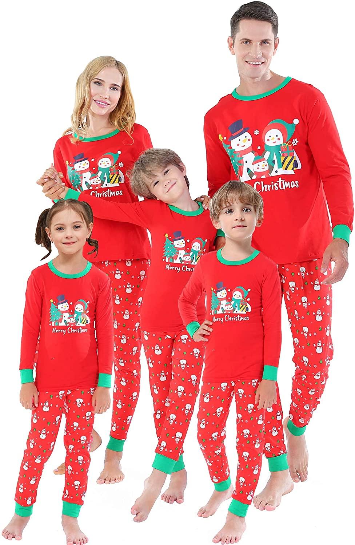 Matching Family Christmas Pajamas Boys Snowman Pjs Girls Tree Clothes Men Sleepwear Women Plus Size XXL