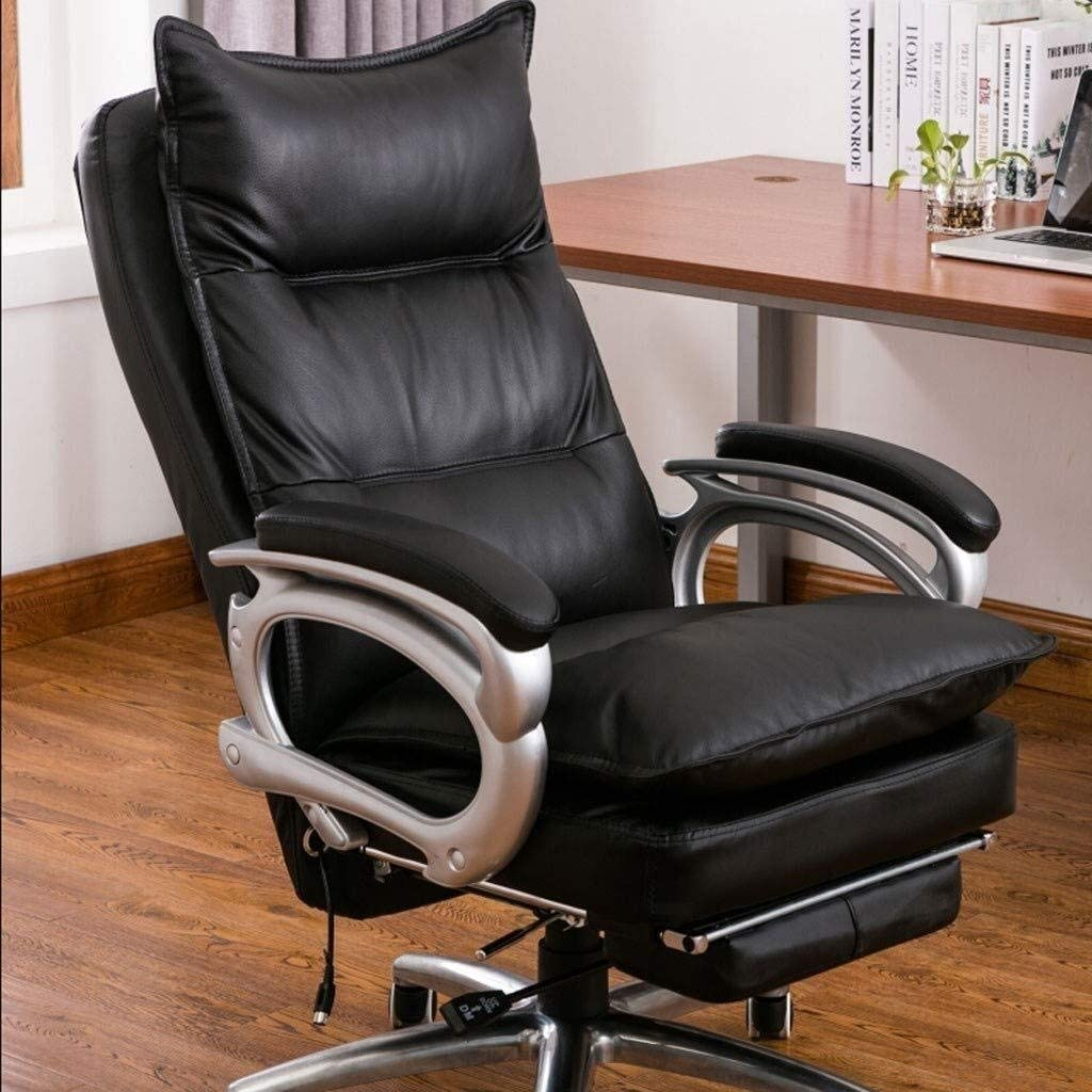 LUCY STORE Office Executive Chair, High-Back Leather Office Chair Ergonomic with Footrest and Thick Padding Reclining Computer Desk Chair (Color : White, Size : Cowhide)