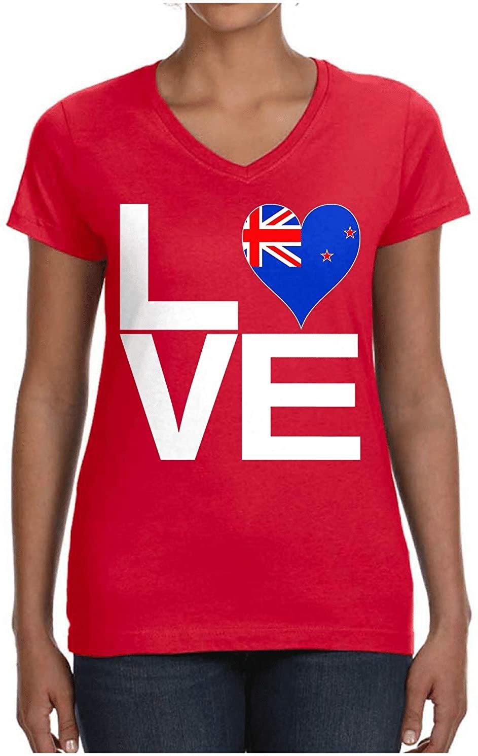 HARD EDGE DESIGN Ladies Love Block New Zealand Heart V Neck T-Shirt, X-Large, Red