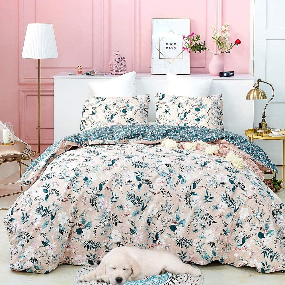 Cottonight Floral King Duvet Cover Pink Flower Cotton Bedding Set Navy Boho 3PC Duvet Cover Set Reversible Printed Bedding with Zipper Closure Ties