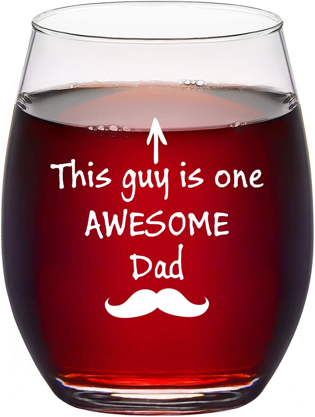 Dad Wine Glass, This Guy is One Awesome Dad Stemless Wine Glass Funny Birthday Christmas Father's Day Gifts for Dad Men Husband Him Father, Novelty Fathers Day Wine Gifts Idea, 15Oz