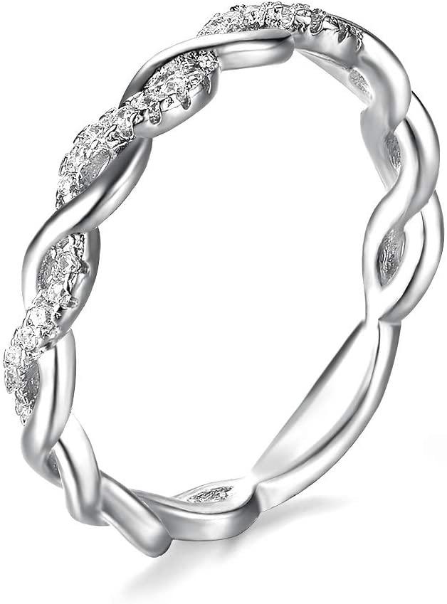 Zhx Exquisite14K White & Yellow Gold 0.06ctw Round Cut Diamond Anniversary Twined Vine Infinity Gemstone Ring Wedding Bands Jewelry (White Gold,6)