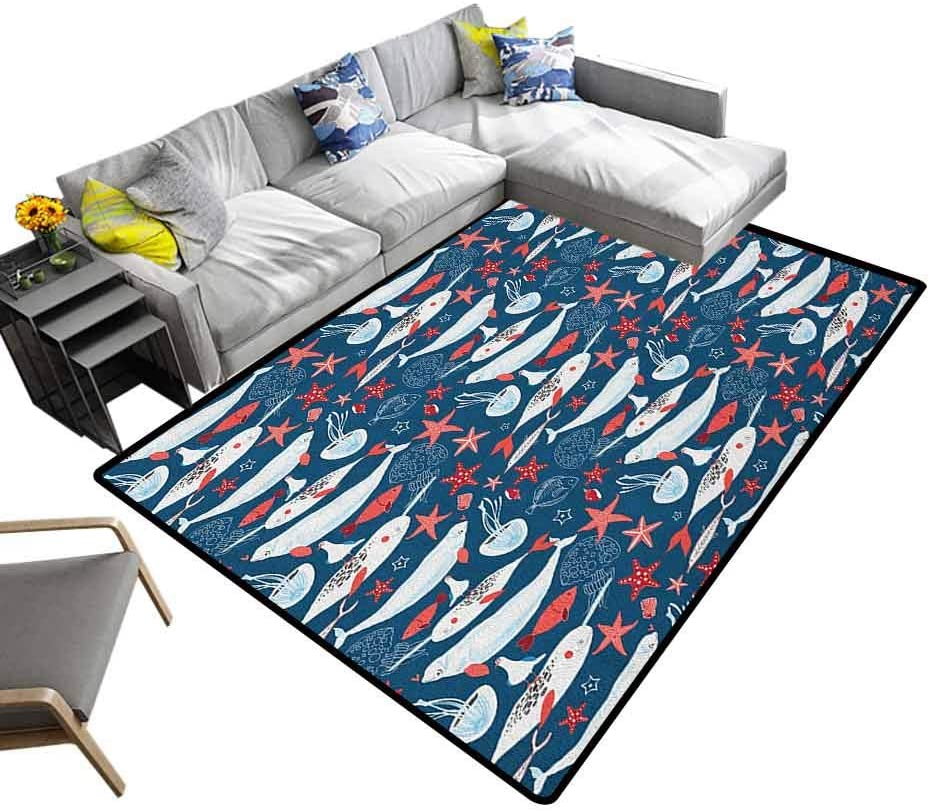 Carpet Floor Mat Narwhal, Fashion Color Living Room Carpets Arctic Ocean Fauna with School of Fish Narwhal and Jellyfish Sketch for Hard Floors Royal Blue Coral Baby Blue, 6.5 x 10 Feet