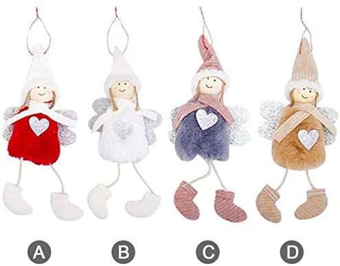 Kalolary Doll Hanging Angel Set, 4 Pack Cute Angel Plush Doll Door Wall Hanging Decoration House Ornaments for Patio Lawn Garden Party Easter Decoration