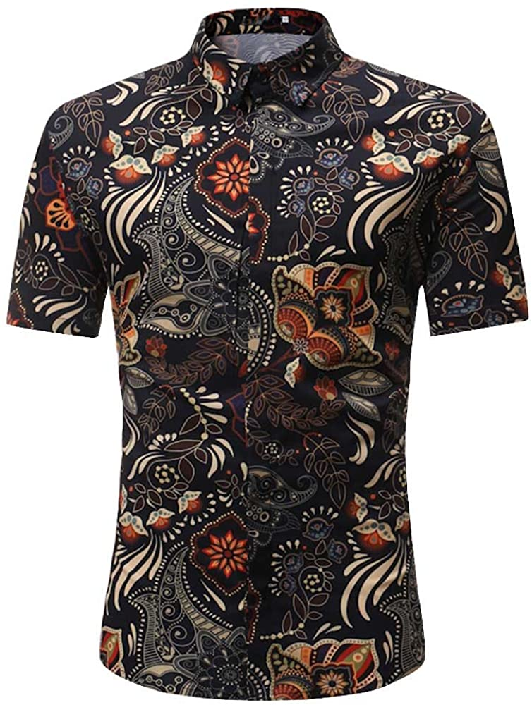 XQXCL Men's Short Sleeve Floral Henley Shirt Casual Slim Fit Graphic Printed Top