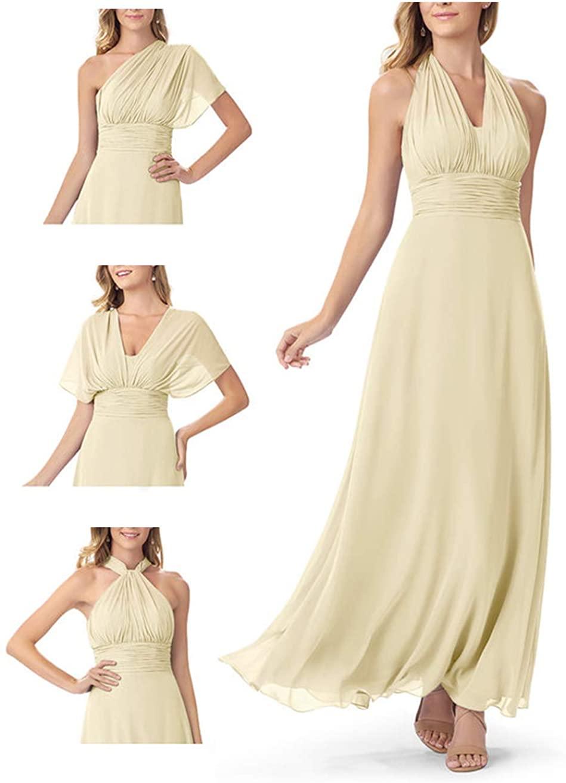 Elleybuy Women's Bridesmaid Dress Long Chiffon Wedding Dress for Bridesmaid Champagne
