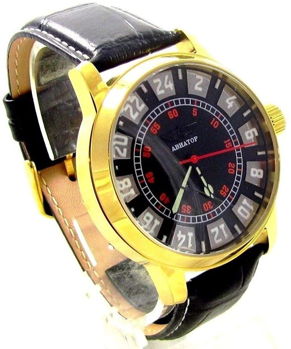 Custom Poljot Mens Wrist Watch Limited Edition 24 Hours Day & Night Vintage Watch Soviet Watch