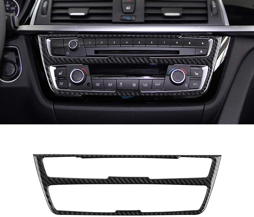 ramuel Compatible with Interior Carbon Fiber Center Consoles CD Panel Decoration Frame Trim for BMW 3 4 Series GT F30 F32 F34 2013 2014 2015 2016 2017 (Black