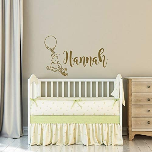 A Design World Wall Sticker-Classic Winnie The Pooh and Piglet Monogram Baby Name Personalized Childs Name Vinyl Pooh Bear Nursery Decor-0098BSKDW-Custom Color