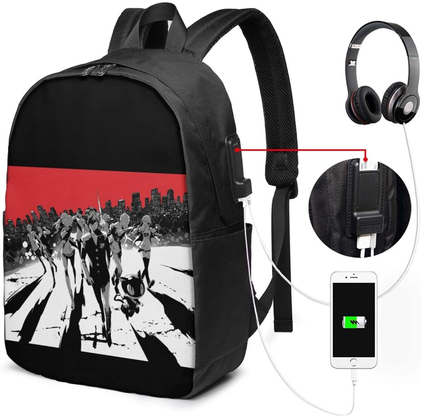 Persona 5 Fashion Outdoor Travel Durable USB Backpack for Unisex 17 in