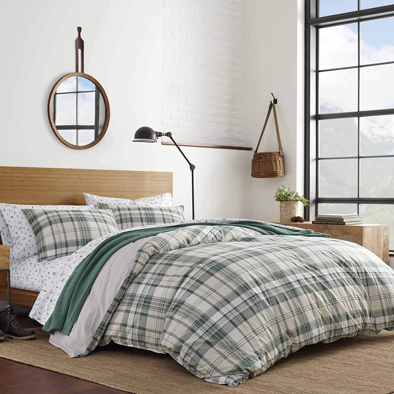 Eddie Bauer Home | Timbers Collection | 100% Cotton Soft & Cozy Premium Quality Plaid Duvet Cover Matching Shams, 3-Piece Bedding Set, Machine Washable, King, Evergreen