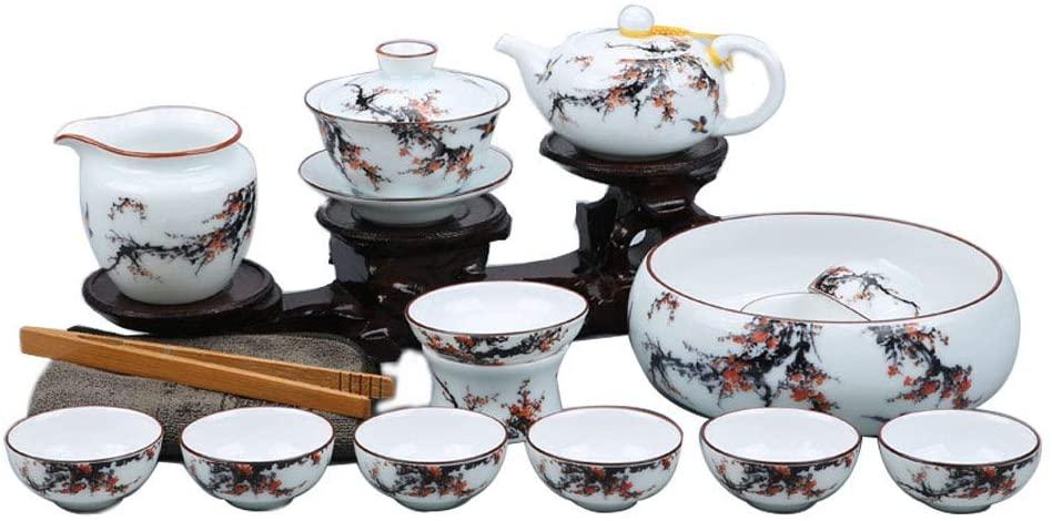 WLGQ European Tea Set,Celadon Tea Set,16 Kung Fu Ceramics,Bone China,Teapot,Tea Bowl,Tea Wash,Gift Set,Afternoon Tea,Party,Birthday Present,Brightfrost