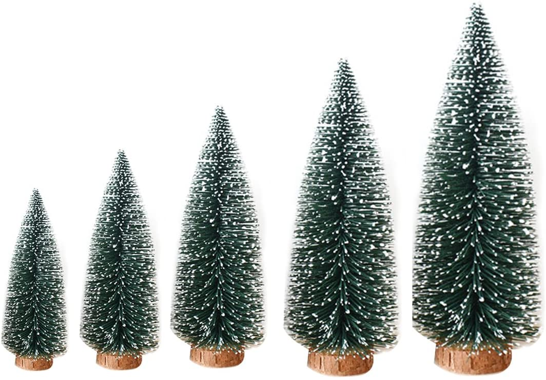 Hi Suyi 1pcs Artificial Tabletop Mini Pine Christmas Trees Decorations Festival Miniature Xmas Tree with Wood Look Base 5 Size