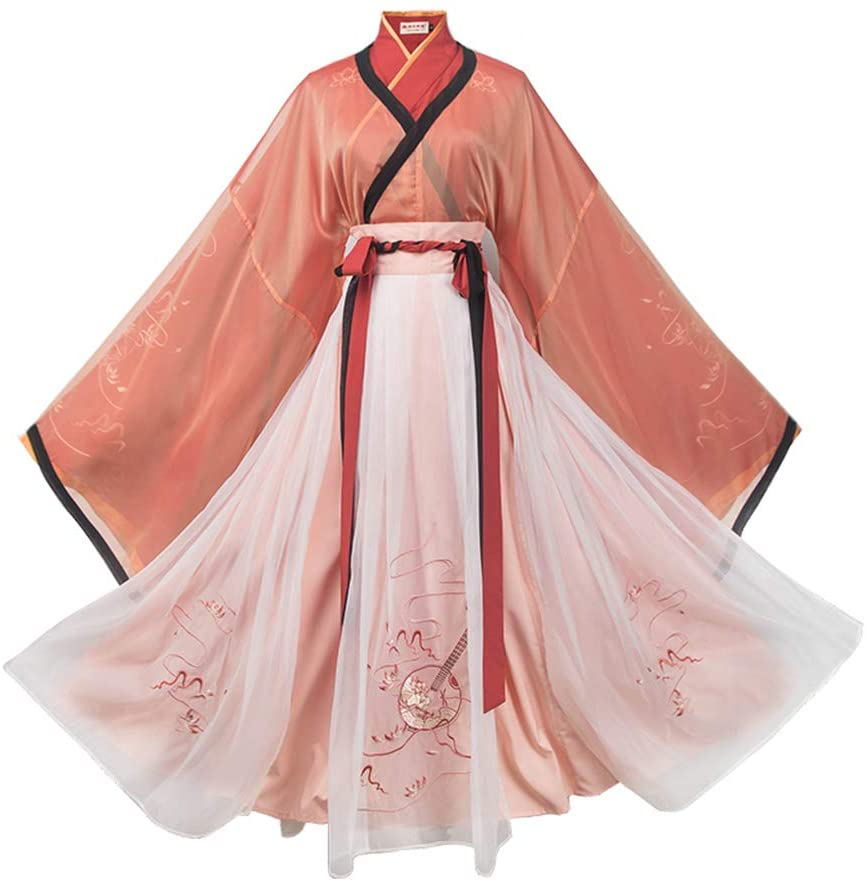 FAEIO Retro Traditional Hanfu Dresses - Improved Version Embroidered Cross Collar Slim Fit Ancient Chinese Style Traditional Costume to Daughters and Girlfriends XL Chinese Style Hanfu