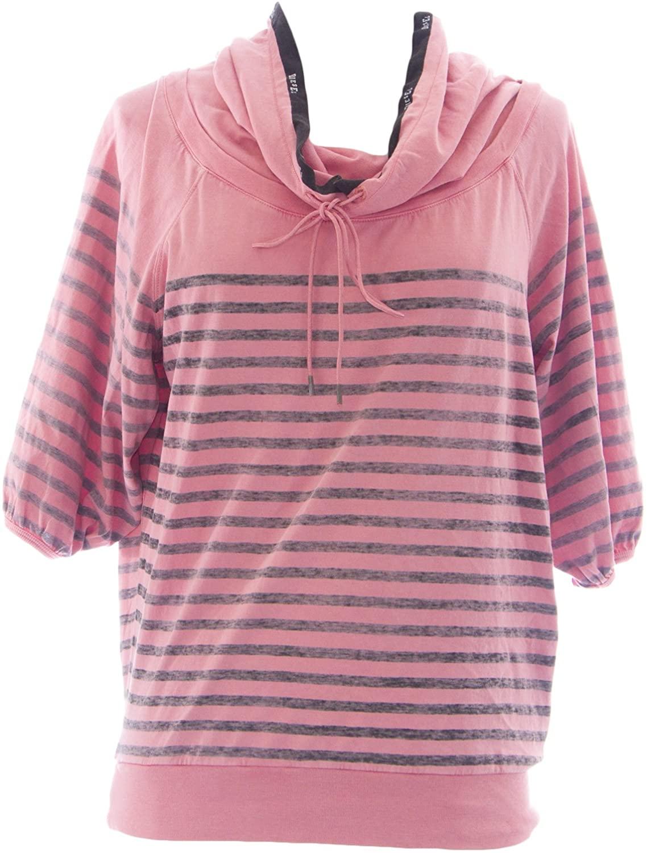 Diesel Women's Teshy Felpa Striped #00C8PX Pink/Grey New