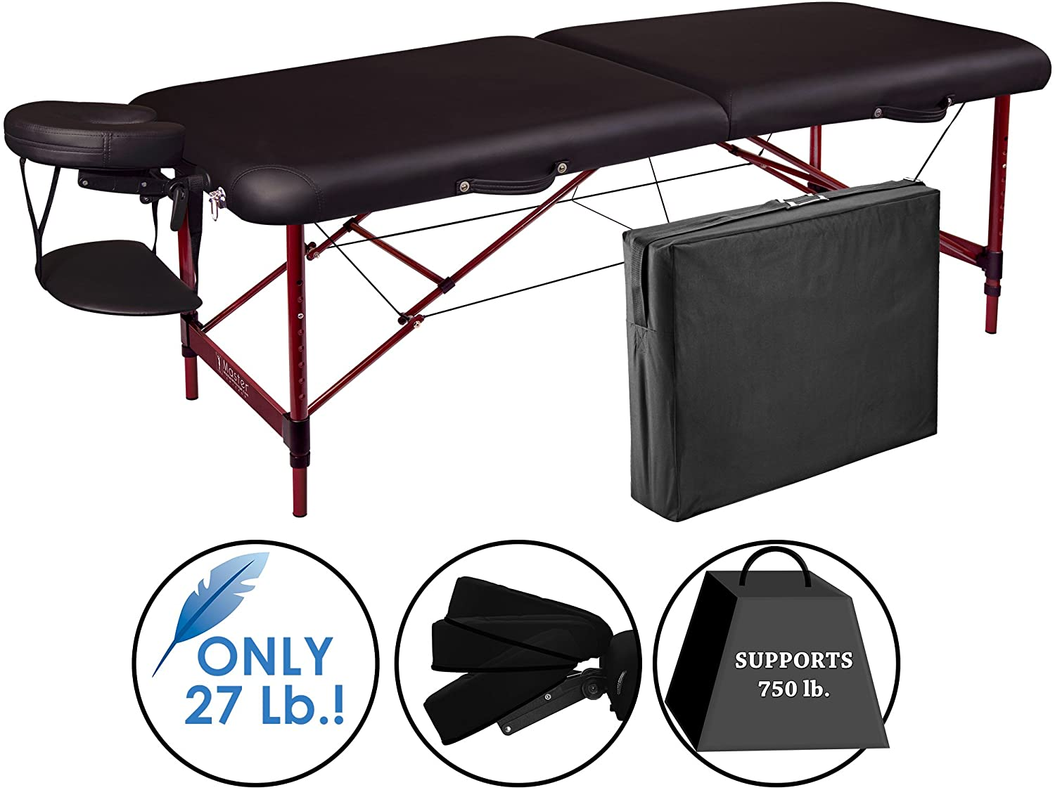 Master Massage Zephyr Lightweight Portable Massage Table Package, Black