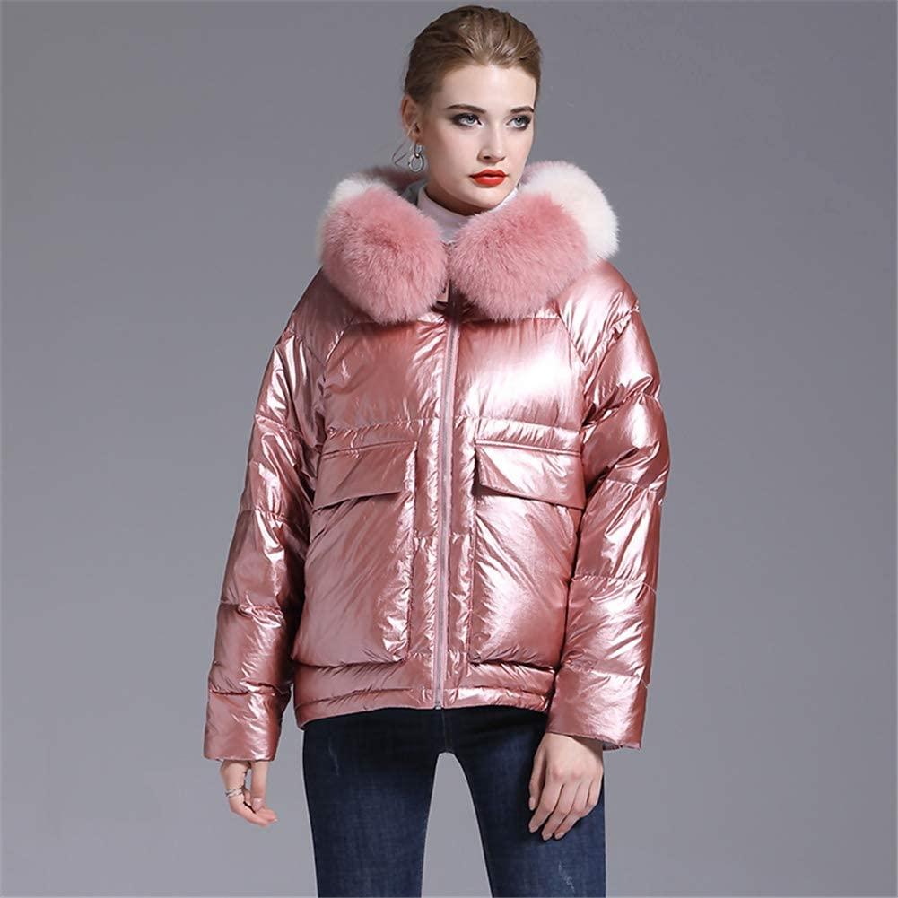 KLFSJD Down Jacket Women, Short Jacket Coat, Elegant Temperament Big Fur Collar, White Duck Down Outdoor Windbreaker, Suitable for Outdoor Ski Wear,Pink,M