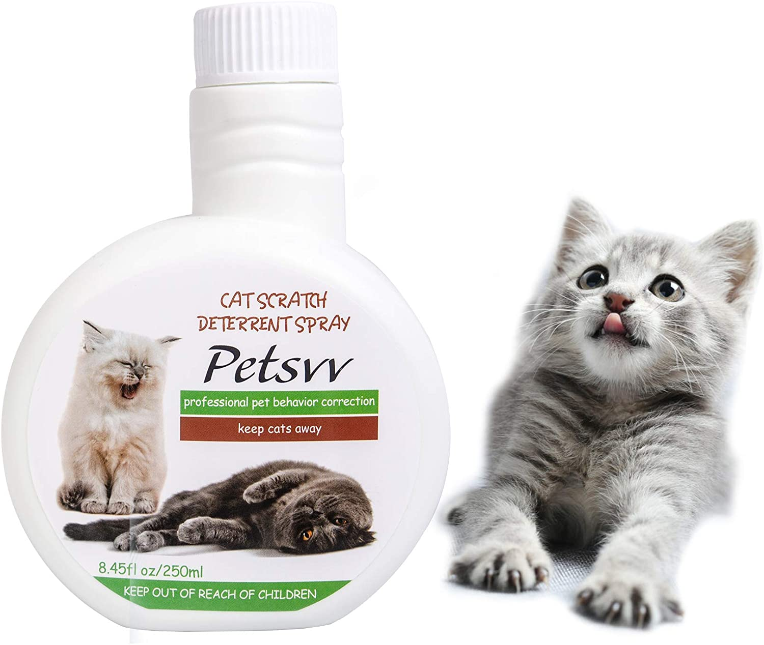 Cat Scratch Deterrent Spray, Anti Scratch Cat Spray Safe for Plants, Furniture, Floors, Non-Toxic, No Alcohol