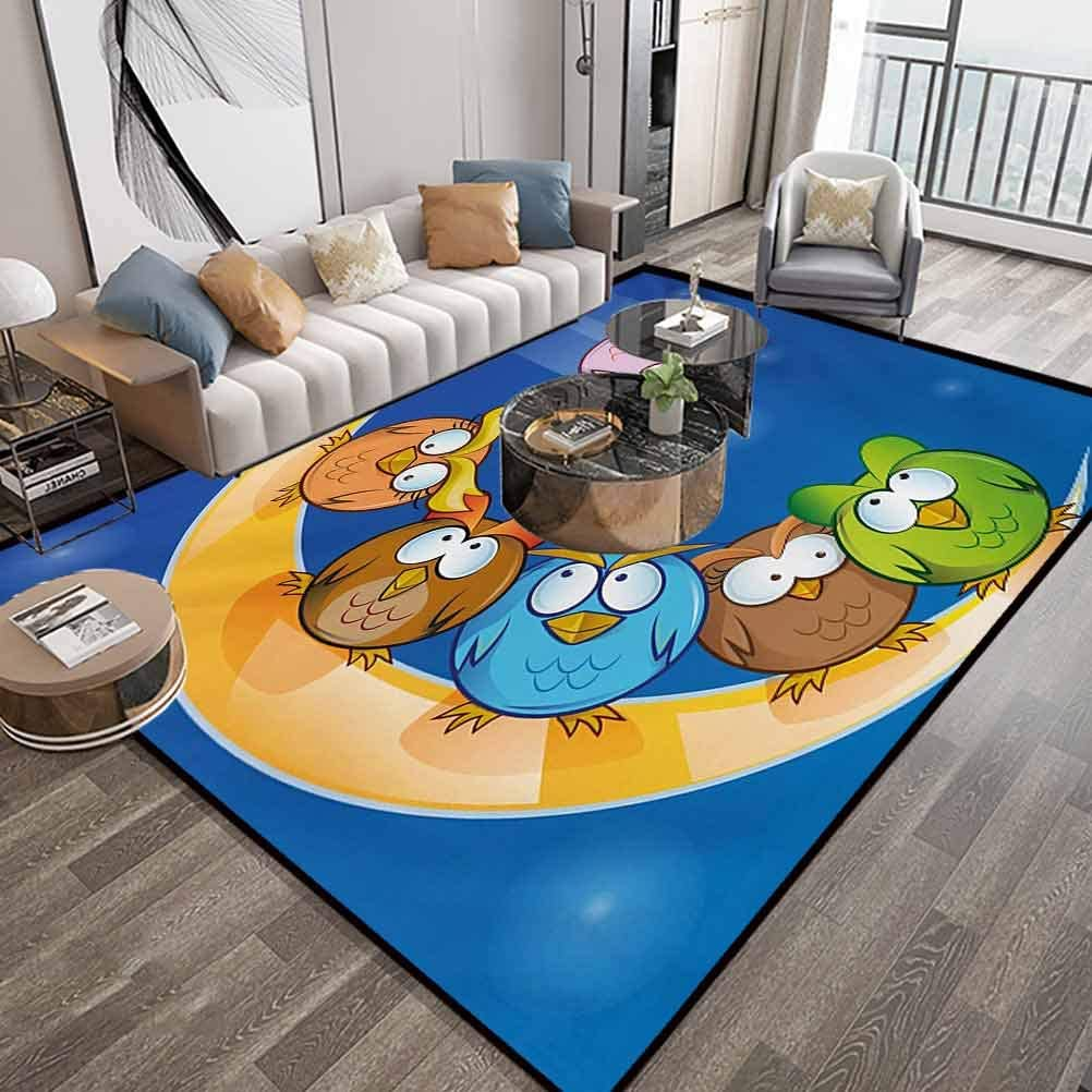 Moon Area Rug For Bedroom 6X9 Feet,Cartoon Owls Playing On The Moon Stars In The Background Colorful Drawing Style Print,Indoor Comfortable Modern Rugs Carpet With Lock-Edge & Non-Slip Base,Multicolor