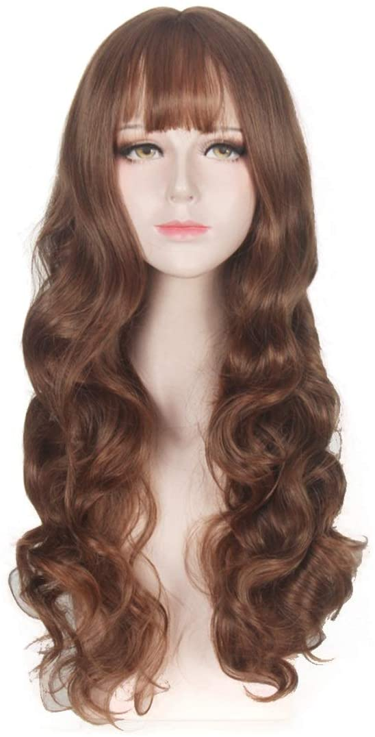 Sink Faucet Taps Washbasin Faucet Fashian Long Fluffy Curly Cosplay Hair Full Wig Lolita Lady Party Wig (Color : Brown)