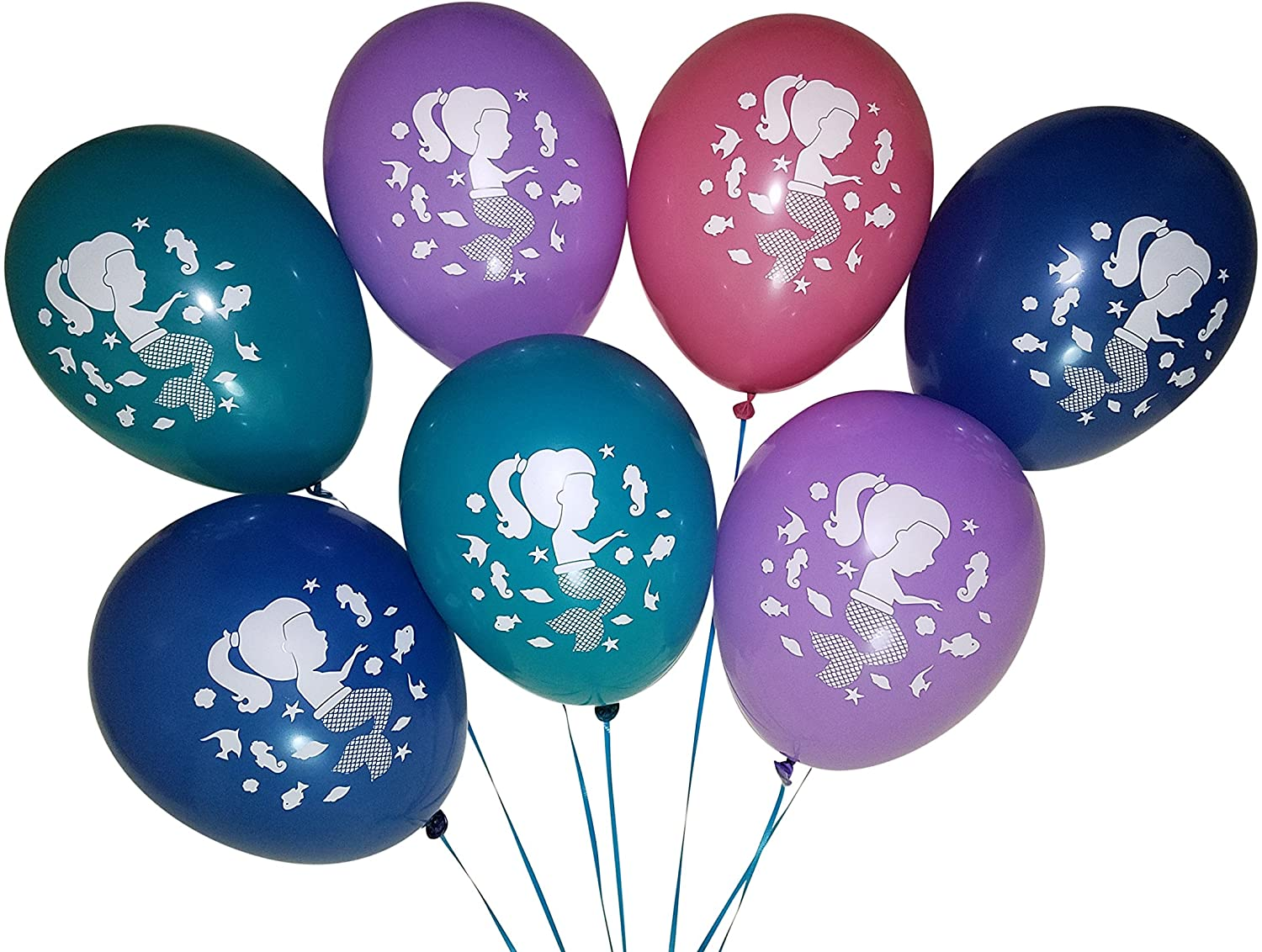 Mermaid Balloons for Birthday Party or Under The Sea Theme – 25 Pack – Blue, Teal, Pink, Lavender