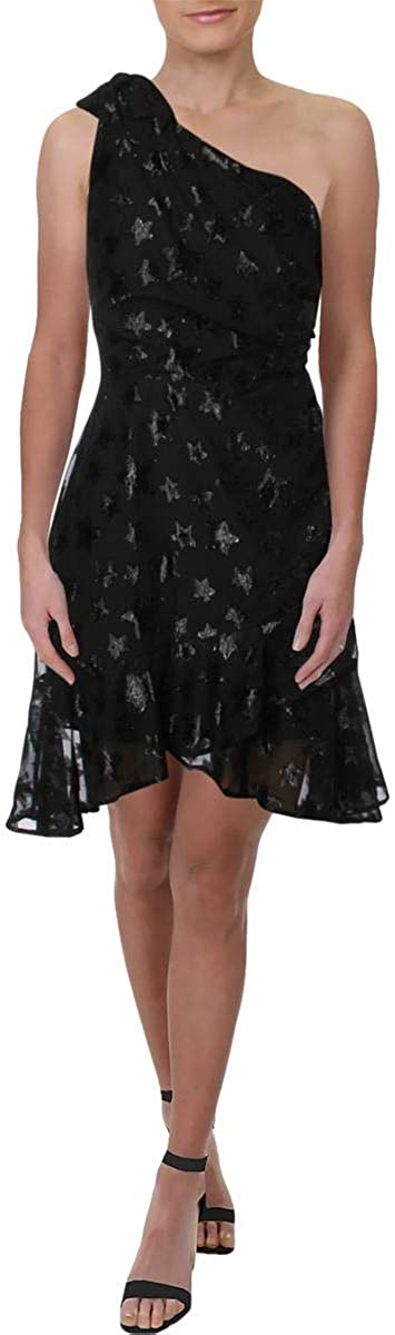 Aqua Star Women's One Shoulder Metallic Ruffled Mini Dress