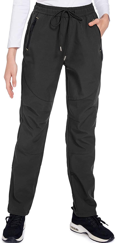 Womens Snow Pants Soft Shell Insulated Ski Pants Women Fleece Lined Warm Hiking Pants